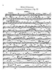 Genoveva, Op.81: Overture – oboes parts by Robert Schumann