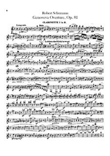 Genoveva, Op.81: Overture – clarinets parts by Robert Schumann
