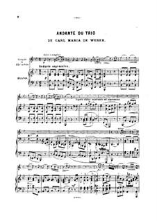 Trio for Flute, Cello and Piano, J.259 Op.63: Andante, for violin (or flute, or cello) and piano by Carl Maria von Weber