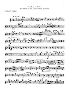 Invitation to the Dance, J.260 Op.65: For orchestra – clarinets parts by Carl Maria von Weber