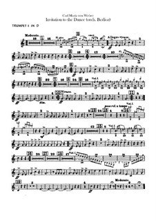 Invitation to the Dance, J.260 Op.65: For orchestra – trumpets and cornets parts by Carl Maria von Weber