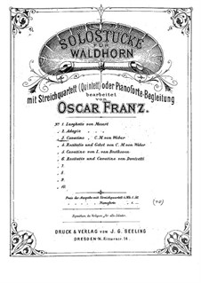 Act III, No.12 Cavatina: For horn and piano by Carl Maria von Weber