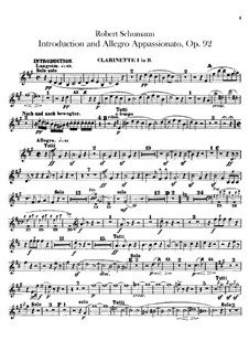 Introduction and Allegro Appassionato, Op.92: Clarinets parts by Robert Schumann
