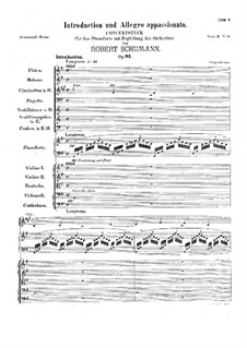 Introduction and Allegro Appassionato, Op.92: Full score by Robert Schumann