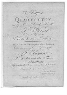 Six Fugues for String Quartet: Six Fugues for String Quartet by Gregor Joseph Werner