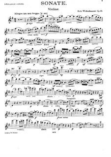 Sonata for Violin and Piano, Op.13: Solo part by Richard Wickenhausser