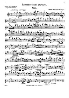 Romance without Words for Violin and Piano, Op.9: Solo part by Henryk Wieniawski
