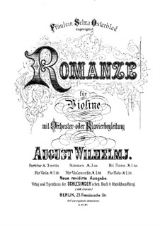 Romance in E Major, Op.10: For violin and orchestra by August Wilhelmj