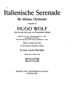 Italian Serenade for String Quartet: Version for viola and orchestra by Hugo Wolf