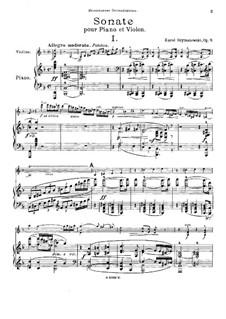 Sonata for Violin and Piano, Op.9: Score by Karol Szymanowski