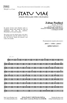 Statu Viae for two pianos and violin (2009): Performing parts by Zoltan Paulinyi