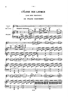 Lob der Tränen (In Praise of Tears), D.711 Op.13 No.2: For violin (or flute, or cello) and piano by Franz Schubert