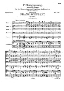Spring Song, D.740 Op.16 No.1: For voices and piano (or guitar) by Franz Schubert