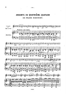 String Quartet No.14 in D Minor 'Death and the Maiden', D.810: Movement II. Arrangement for violin (or flute, or cello) and piano by Franz Schubert