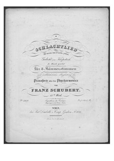 Battle Song for Double Male Choir and Piano (or Harmonium), D.912 Op.151: Full score by Franz Schubert