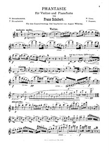 Fantasia for Violin and Piano in C Major, D.934 Op.159: Solo part by Franz Schubert
