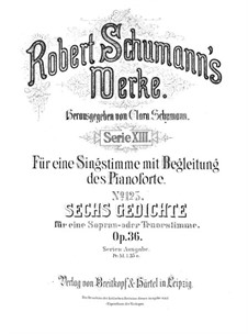 Six Poems, Op.36: Complete set by Robert Schumann