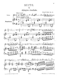 Suite No.1, Op.44: For violin and piano – score by Eduard Schütt