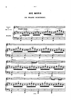 Ave Maria, for Two Instruments, D.839 Op.52 No.6: For violin (also flute or cello) and piano in D Major by Franz Schubert