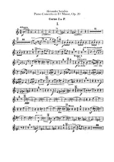 Concerto for Piano and Orchestra in F Sharp Minor, Op.20: Horns parts by Alexander Scriabin