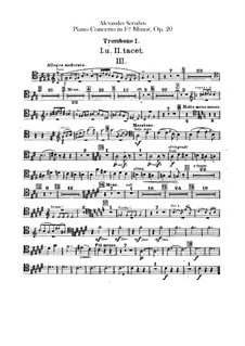 Concerto for Piano and Orchestra in F Sharp Minor, Op.20: Trombones parts by Alexander Scriabin