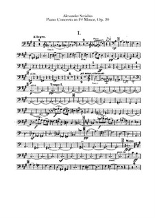 Concerto for Piano and Orchestra in F Sharp Minor, Op.20: Double bass part by Alexander Scriabin