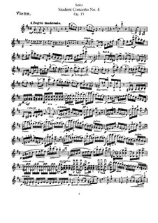 Student Concerto No.4 for Violin and Piano, Op.15: Solo part by Friedrich Seitz