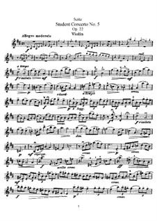 Student Concerto No.5 for Violin and Piano, Op.22: Solo part by Friedrich Seitz