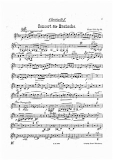 Concerto for Viola and Orchestra in A Minor, Op.68: Clarinets parts by Hans Sitt