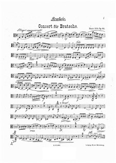 Concerto for Viola and Orchestra in A Minor, Op.68: Viola part by Hans Sitt