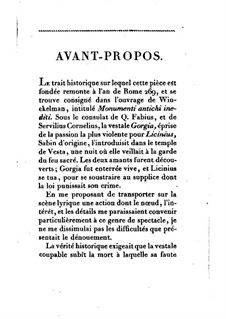 La vestale (The Vestal Virgin): Libretto by Garspare Spontini
