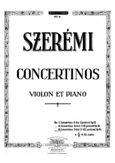 Concertino for Violin and Piano No.3 in D Major, Op.65: Score by Gustave Szerémi