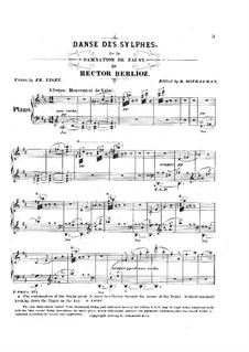 Transcription on 'Dance of Sylphes' from 'The Damnation of Faust' by Berlioz, S.475: For piano by Franz Liszt