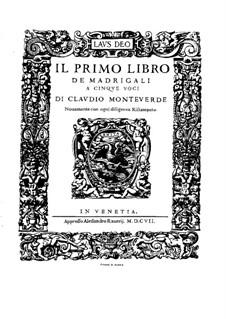 Book 1 (a cinque voci), SV 23–39: Vocal score by Claudio Monteverdi