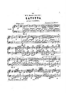 Gavotte: For piano by Wolfgang Amadeus Mozart