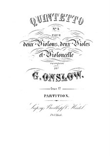 String Quintet No.4 in G Minor, Op.17: Full score by Georges Onslow