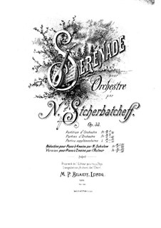 Serenade for Orchestra, Op.33: Full score by Nikolai Shcherbachov