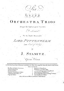 Six Trios for Two Violins and Basso Continuo, Op.1: Complete set by Johann Wenzel Stamitz