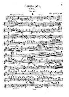 Sonata for Violin and Piano No.2, Op.24: Solo part by Emil Sjögren