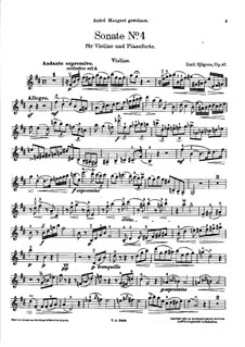 Sonata for Violin and Piano No.4, Op.47: Solo part by Emil Sjögren