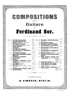 Two Themes with Variations and Twelve Minuets, Op.11: Complete set by Fernando Sor