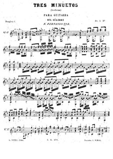 Two Themes with Variations and Twelve Minuets, Op.11: Three Minuets by Fernando Sor
