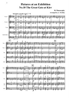 No.10 The Bogatyr Gates. In the Capital in Kiev: For strings – full score, parts by Modest Mussorgsky