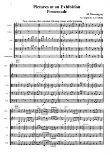 Promenade, No.7 Limoges (The Market): For strings – full score, parts by Modest Mussorgsky