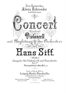 Concerto for Cello and Orchestra No.2, Op.38: Arrangement for cello and piano – solo part by Hans Sitt