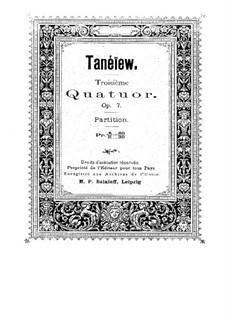 String Quartet No.3 in D Minor, Op.7: Full score by Sergei Taneyev