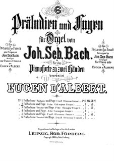 Prelude and Fugue No.11 in G Major, BWV 541: Arrangement for piano by Johann Sebastian Bach