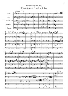 Nine Woodwind Quintets, Op.56, 67, 68: Full score by Franz Ignaz Danzi