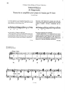 Transcription on Tarantella by Dargomyzhsky, S.483: Transcription on Tarantella by Dargomyzhsky by Franz Liszt