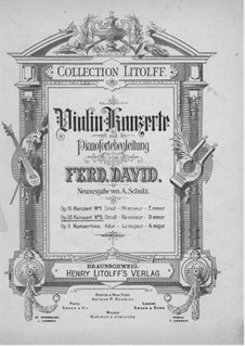 Concerto for Violin and Orchestra No.5 in D Minor, Op.35: Version for violin and piano – violin part by Ferdinand David